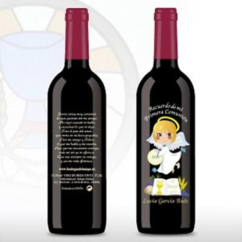 Botella de vino grabada ángel y libro