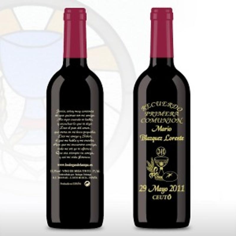Botella de vino grabada cáliz