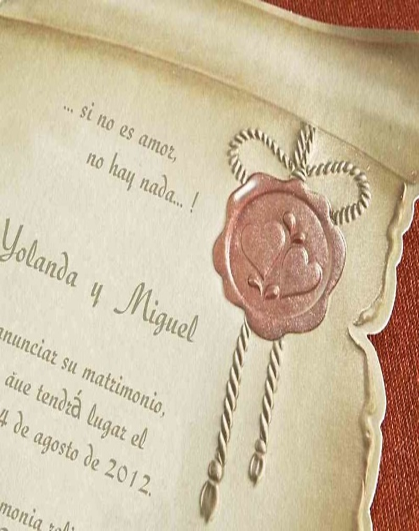 Invitación pergamino medieval 30114