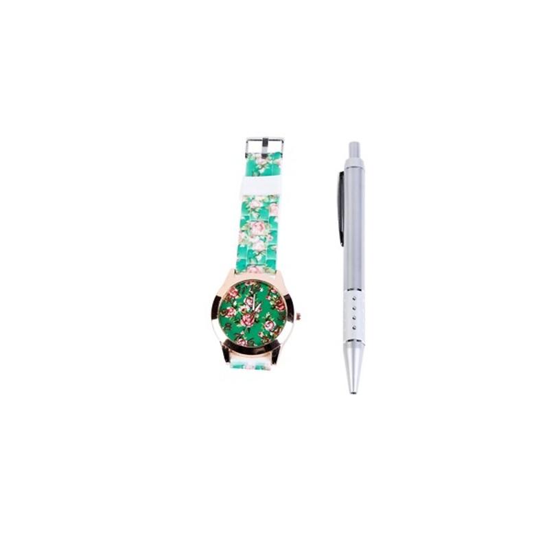 Reloj floral en caja regalo y bolígrafo