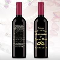 Botella de vino grabada anillos