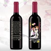 Botella de vino grabada novios