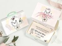 Invitación de boda maleta flamenco  39745