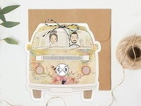 Invitación de boda viaje en furgoneta 39711