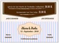 Invitación de boda vintage rayas
