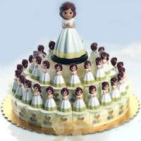 Regalo de comunión tarta niña trenza ref.8682
